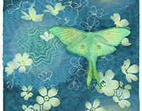 Luna moth floral