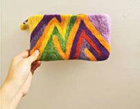 Handmade wool felt bags