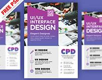UI/UX Design Flyer PSD Freebie