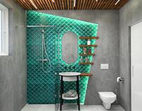 Bathroom #fishtiles #microcret #wood