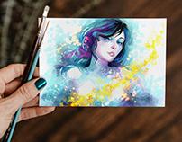 Free Watercolor Painting Greeting Card Mockup PSD