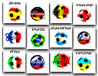 Soccer balls painted in flags of countries
