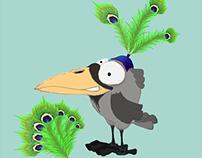 Peacock crow