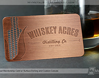 Copper Finish Metal Business Card for Whiskey Acres