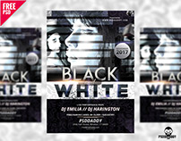 Black and White Club Flyer Free PSD