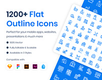 1200+ Flat Outline Icons
