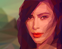 Kim Kardashian as Mona Lisa lowpoly portrait