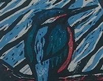 Halcyon. 5 colour Limited ed. linocut print