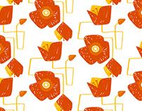 Screen Printed Flowers