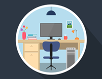 Workspace - Flat Illustration