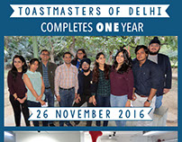 ONE Year Poster for Toastmasters Of Delhi