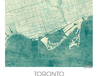 Toronto, Canada. Blue vintage watercolor map poster