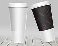 Coffee cup, ice cream pack, milk pack mockups