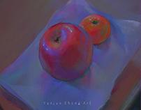 sketch of apple and orange