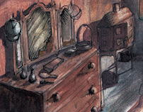 CONCEPT ART SARAHS BEDROOM FOR THE FILM 'NINE TENTHS'