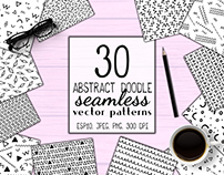 Abstract Handdrawn Doodle Seamless Patterns