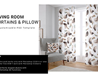 Living Room Curtains & Pillow Set