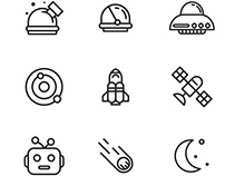 Space exploration vector icons