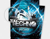 Techno Night – Free PSD Flyer Template