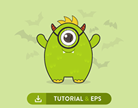 Cute Monter Tutorial & Free EPS