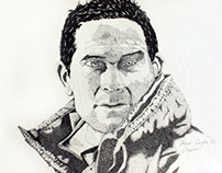Bear Grylls Stippling Illustration