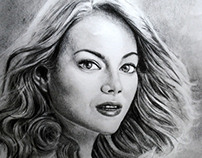 emma stone portrait in charcoal