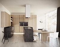 Cesar Cloe Kitchen | Natural Oak and Dark Eco-Cement
