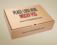 Free Brown Cardboard Box Mockup Psd