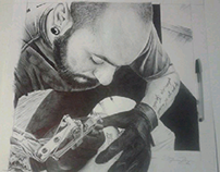"""Tattoo artist"" BIC ballpen drawing"