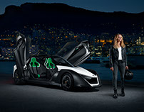 Margot Robbie with the Nissan BladeGlider