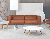 Prostoria Cloud Leather Sofa Hand Made in Croatia