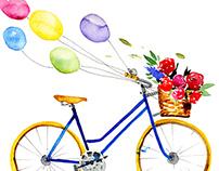 Watercolor retro bike.