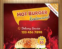 Free Burger Shop Flyer PSD Template