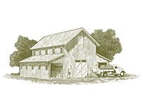 Woodcut Farm Work Scene