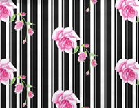 Black and white stripes with pink rose