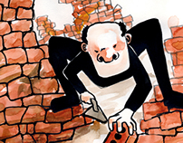 Atilla bricked in - Children's illustration