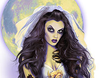 Zombie bride illustration for surfboard