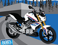 Bob's BMW Spring Open House. Illustration and poster