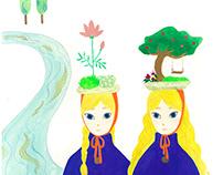 Twin girls with BONSAI