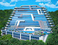 Architectural visualization of the hotel