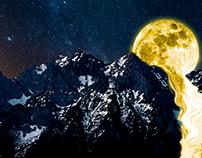 Luna - Río / Composición Digital