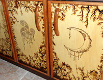 Pyrography on doors
