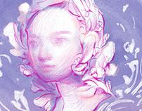 Dreaming in Flowers: Portrait Drawings