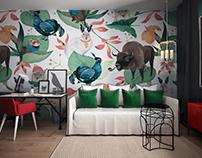 """Interior with prints """"Zhuli-Buli"""" by Nastya Ptichek"""
