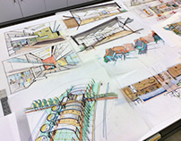 Architectural design drawings and conceptual sketches 2