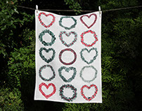 Christmas Wreaths Linen Tea Towel Designs