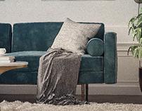 Monroe Mid Century Sofa Render