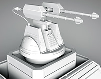Turret Gun sci-fi 3D model Cinema 4d