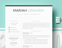 Professional resume template for word & Pages - Mariah