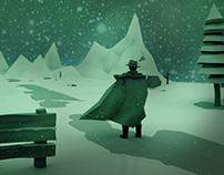 Winter low poly scene